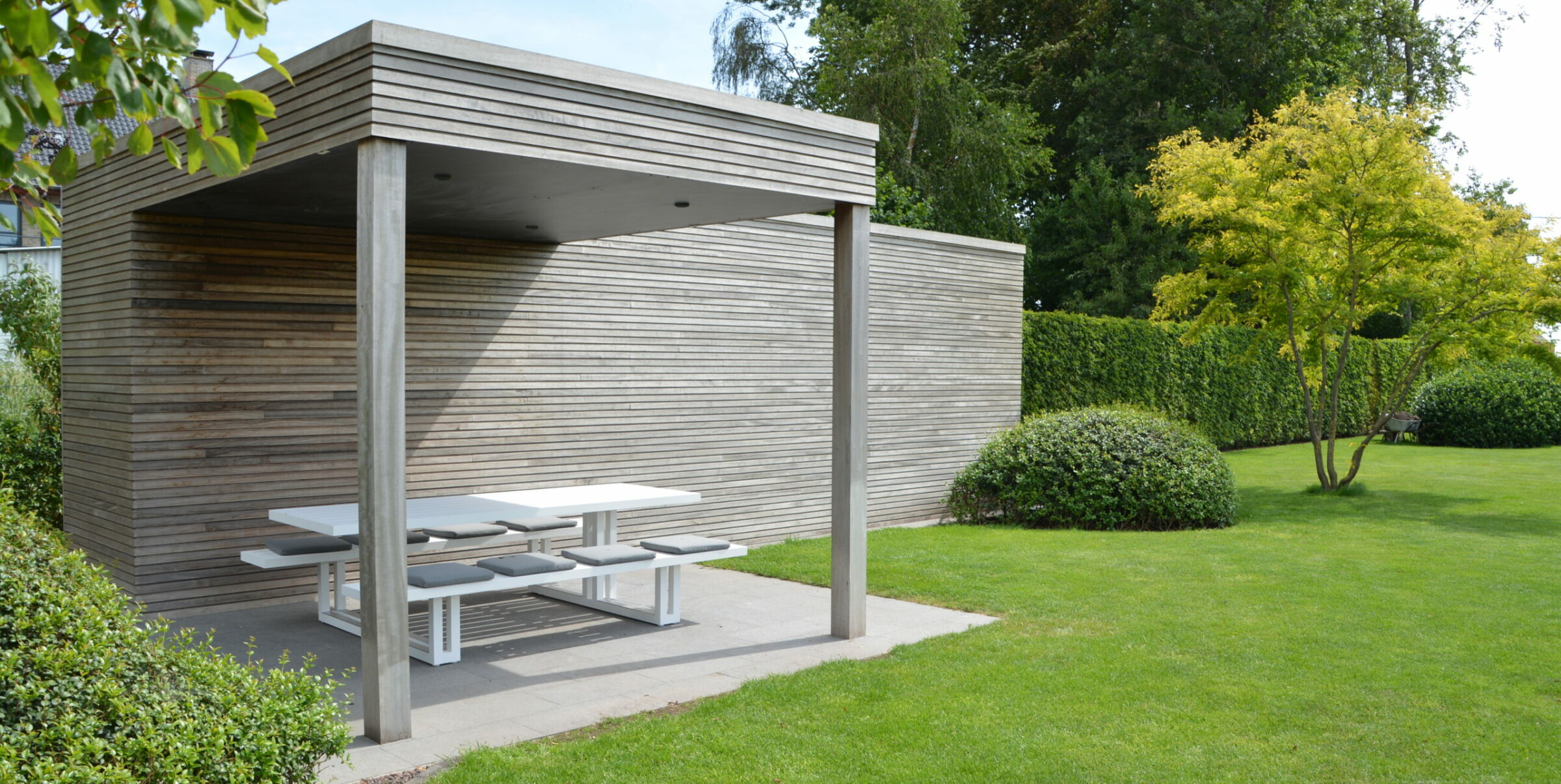 houten poolhouse Out Moar thermowood